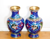 Two Cloisonne vases…cloisonné dragons...porcelain enamel on brass…blue with dragons.