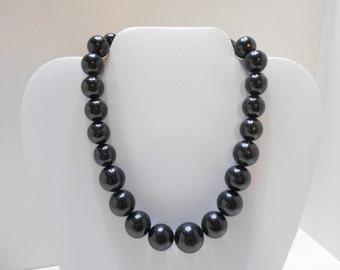 "Vintage 18"" Black Beaded Necklace (4780) (BP)"