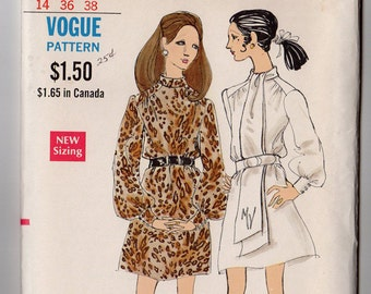 FF 1960s Misses' One Piece Dress Vintage Sewing Pattern - Vogue 7619 - Front Gathers, Turn Over Collar Size 14, Bust 36 UNCUT