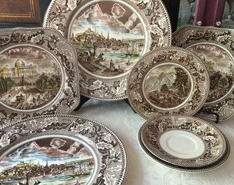 Set of 7 English Brown Transferware Plates made in England Johnson Bros Plates Wall Display
