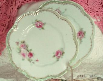 Vintage Wedding Dessert Plates R.S. Germany Reinhold Schlegelmilch Porcelain Bread Butter Plates Shabby Chic Set of 2 Vintage
