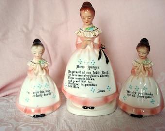 Vintage Enesco Dinner Prayer Praying Lady Napkin Holder Salt Pepper Kitchen Blessing w/2 Little Girls Porcelain Shabby Cottage Chic
