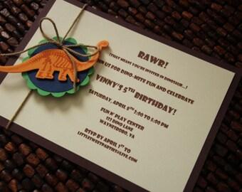 Dinosaur Fossil Birthday Party Invitations-set of 10 Invitations