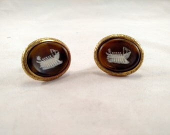 Dante Viking Ship Incolay Gold Tone Cuff Links