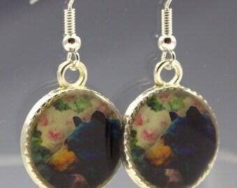 Black Bear Earrings 3D Dimensional Roses Nature
