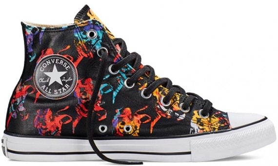 High Top Converse Black Andy Warhol Collection Bull Artist w/ Swarovski Crystal Mens  Chuck Taylor Rhinestone Bling All Star Sneaker Shoes