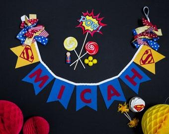 SUPER MAN BANNER / Super hero banner / Super hero party / Superhero baby shower banner / Superhero birthday banner / Superhero banner