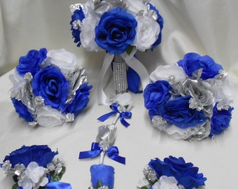 Wedding Silk Flower Bridal Bouquet Package Royal Blue White Silver Bride BridesmaidsToss Bouquets Boutonnieres Corsages FREE SHIPPING