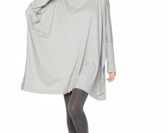 NO.62 Dusty Gray Cotton Jersey Oversized T-Shirt Tunic Sweater, Women's Top