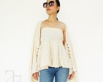 NO.202 Cream Double Cotton Gauze Ruffle Tube Top, Ruffle Mini Skirt, Women's Top