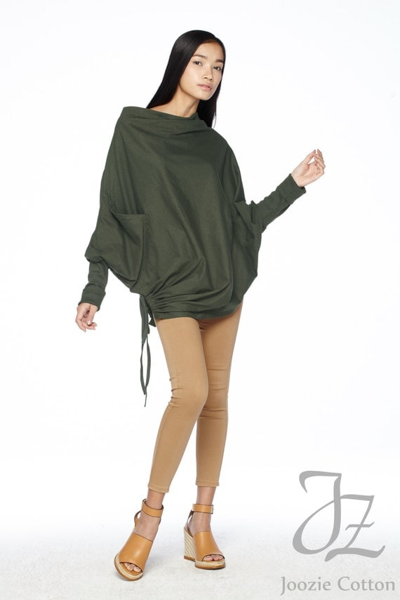 NO.59 Dark Olive Green Cotton Jersey  Batwing Tunic, Loose Asymmetrical  Sweater, Women's Top