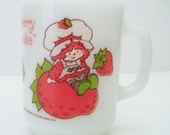 Vintage 1980 Strawberry Shortcake Anchor Hocking Fire King Milk Glass Coffee Mug