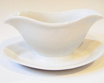 Vintage White  Double Spout Gravy Boat With Attached Underplate