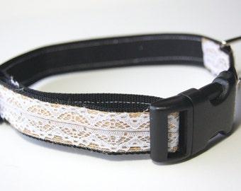 Burlap and Lace Dog Collar Adjustable Sizes (M, L, XL)