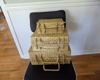 Vintage Nesting Wicker Suitcases - Set of 3 ~ Stacking Suitcases Display - Rattan/ Woven Picnic Basket ~ Travel / Beach Bag/ Luggage
