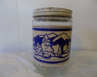 Vintage Anchor Hocking blue glass jar - peanut butter jar - country winter snowy scene - glass canister