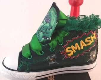"Customized  Converse Shoes Girls  ""Hulk"" - Customized Chuck Taylors"