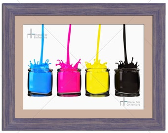 CMYK Paints In Jars Abstract Photographic Print - Various Sizes - Gift Idea
