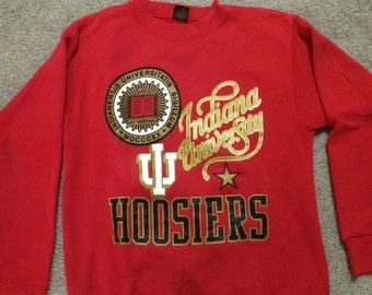Vintage Indiana University Hoosiers Gold Print Sweatshirt