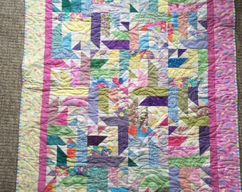 Baby Girl or Lap Quilt Perpetual Motion Scrappy
