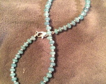 Natural Aquamarine Gemstone Anklet