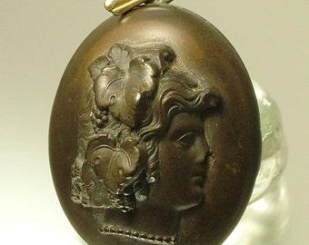 Antique/ estate 1800s Victorian vulcanite/ black mourning costume locket - jewelry / jewellery