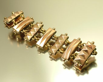 Reserved - Antique/ estate 1800s Victorian, gilt metal, geometric, panel chain bracelet - jewelry