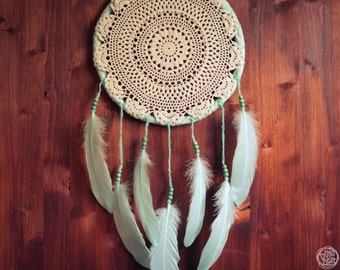 Dream Catcher - Aqua Dreams - Unique Dream Catcher with White Handmade Crochet Web and Aqua Feathers - Mobile, Home Decor, Decoration