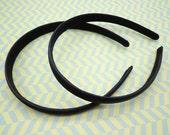 SALE--2 pcs Black Satin Headbands-- 15mm Wide