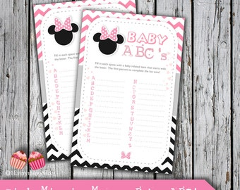 Pink Minnie Mouse Baby Shower Baby ABCs Card