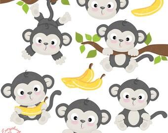 Cute Little Gray Monkey Clipart Set
