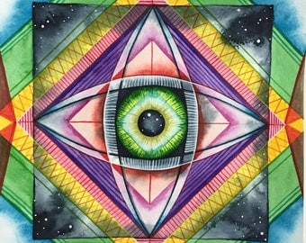 Gods Eye, original gouache and watercolor painting