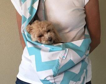 Reversible Pet Sling with Pocket - Chevron Turquoise