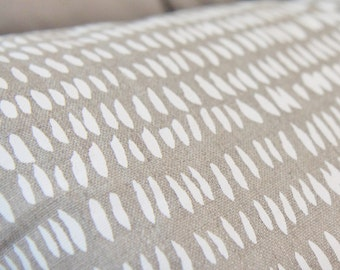 Last One - Dashes in White & Natural Pillow Cover - Bohemian Block Print Modern Pillow Cover - Neutral Decor