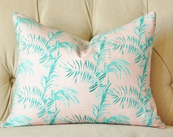 Pink Palm Pillow Cover - Pink and Teal Beach - Linen Grain Pillow Cover - Palm Leaves - South Beach - Summer Decor - Pink