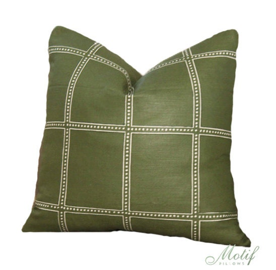 Zak and Fox Postage Pillow Cover Olive Green Geometric Throw