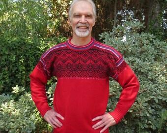 Vintage Meister Wool Knit Apres-Ski Sweater, Men's XL, Girlfriend Sweater, Made in Hong Kong