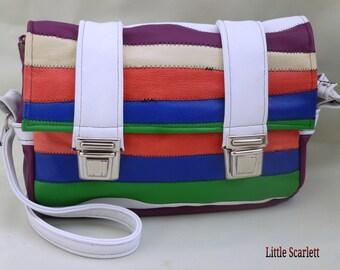 Handbag satchel strips of multicolor leather