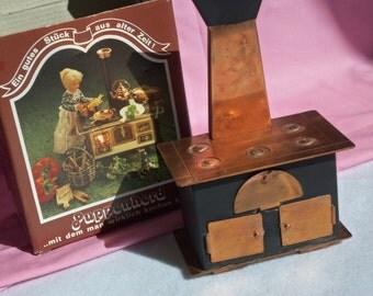 Vintage Mini Doll House Furniture,Copper Kitchen Stove. Mini Doll House Stove, Made in Germany Stove, Copper, Oven,