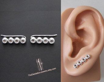 Circles Ear Climber Earrings, Ear Cuff, Stud Earrings, Sterling Silver Earrings, Studs, Jewelry, Gift, Minimalist Earrings