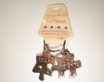 1 Set of Best Friends Puzzle Silver Plated Key Chains Key Rings