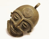 Huge Vintage African Face Pendant, Brass Mask, Ethnic Jewelry Supplies (W67)