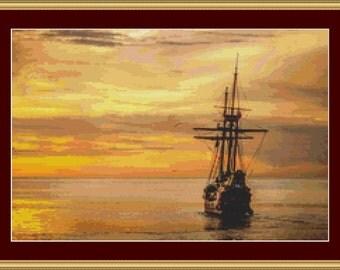Sailing Into The Sunset Cross Stitch Pattern