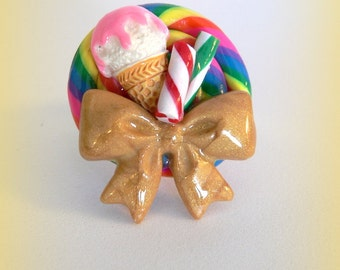 Fake Candy Ring Ice cream cone Candy Swirl Lollipops and Peppermint With Gold Bow