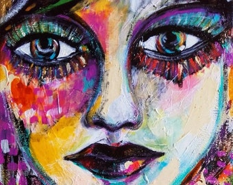Woman Portrait on Canvas - Contemporary Art Face Woman - Portrait Wall Art - Portrait Fine Art - Eyes - Lips - Woman Wall Art - Face Art