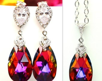 Swarovski Bridesmaid Gift Volcano Crystal Earrings & Necklace Set Cobalt Amber Purple Orange Cubic Zirconia Jewelry Statement Jewelry VO32J