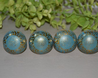 4 Ornate Aqua & Gold Metal Door Knobs