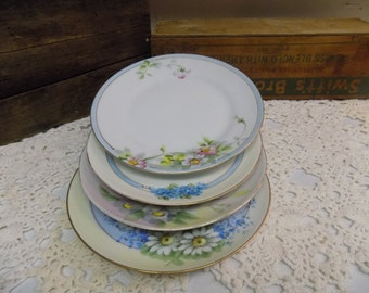4 Vintage Handpainted China 6 Inch Plates Shabby Cottage Wall Decor Not for Food Use B1316