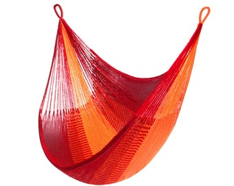 Sedona Hanging Chair Hammock: Orange & Red Stripe by Yellow Leaf with Free Shipping