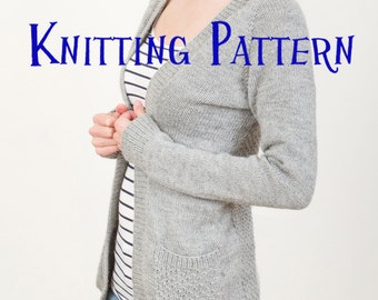 PDF Knitting Pattern - Greystone Cardigan, Cardigan Knitting Pattern, Ladies Sweater Pattern, Top Down Raglan Pattern, Open front cardigan